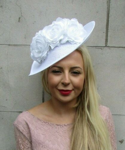 Large White Rose Floral Flower Teardrop Fascinator Hat Races Hair Headband 7240