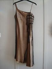 Elle occasion dress 12 pale gold slip with net beaded overlay