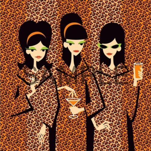 * Mid-Century Modern Art Fabric Art Quilt Block Three Mod Ladies  19-03