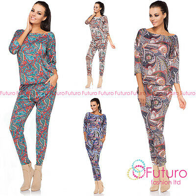 Womens Jumpsuit With Pockets Floral Catsuit 3/4 Sleeve Playsuit Size 8-14 Ft2153 Elegant Und Anmutig