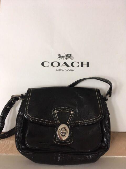 7f272859e9bc Vintage Coach Small Black Patent Leather Penny Pocket Turn Lock Bag  F0973-F14283
