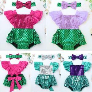 Baby-Girls-Mermaid-Costume-Romper-Bodysuit-Shiny-Headband-Sunsuit-Party-Outfits