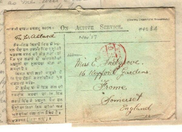 DéTerminé L'irak Ww1 Couverture Hindi * Fpo 84 * Somerset Light Infantry 1917 Soldat Lettre Mal2