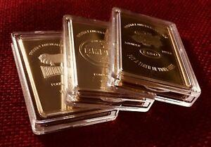 Set-of-3-Ingots-Bar-999-Finished-GOLD-1oz-Petroleum-Esso-Ampol-Golden-Fleece
