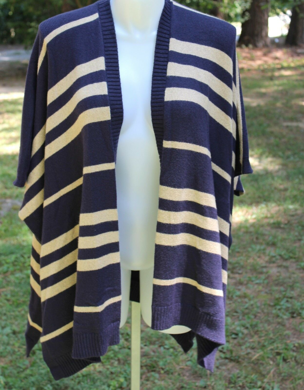 Women's Gap Open Poncho Striped Sweater One Size NWT Navy bluee & Khaki