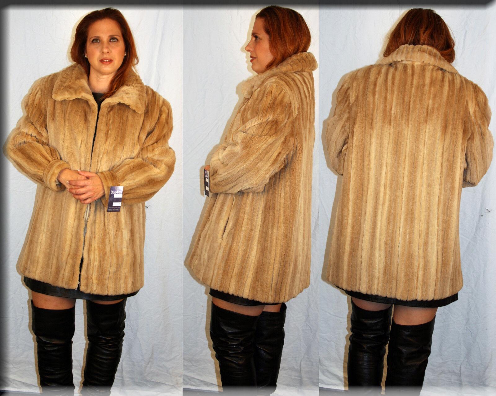Ny Camel Shearöd Mink Fur Stroller Storlek stor 10 L Efurs4less