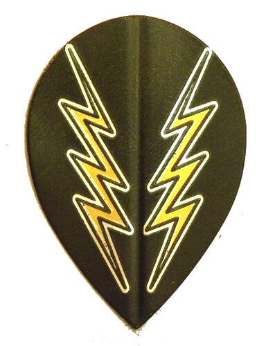 Gold Lightning Bolt Teardrop Sets Dart Flights 5 Black