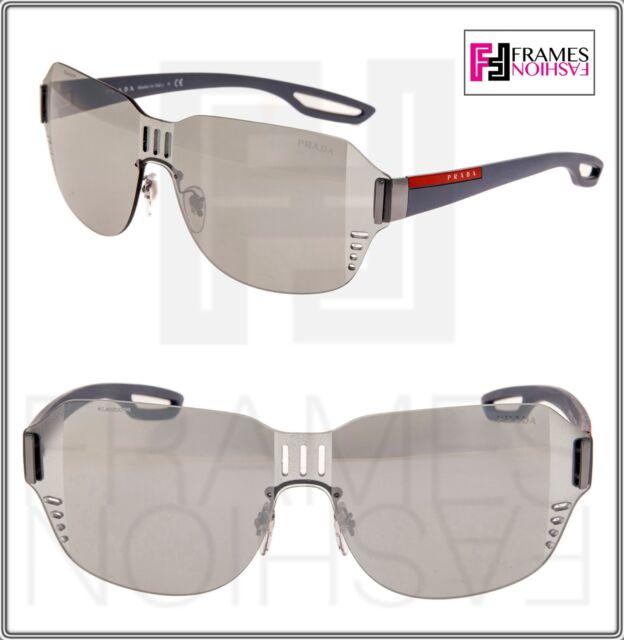 5902573bde342 PRADA LINEA ROSSA LJ SILVER 05S Matte Rubber Silver Mirrored Sunglasses  PS05SS