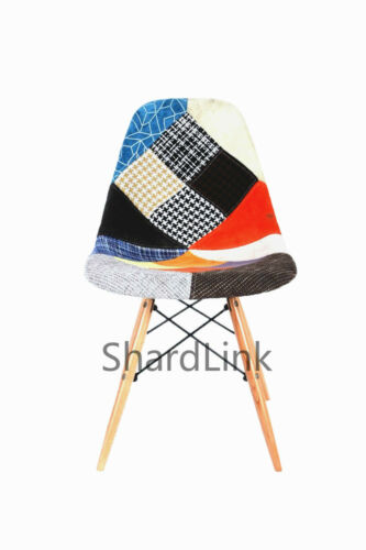 Fabric Retro Vintage Wooden Patchwork Eiffel Chair for Dining Lounge office
