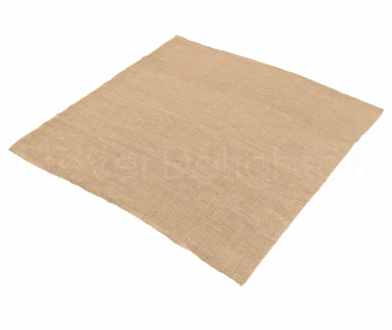 10 Pk - 60  Square Burlap Tablecloth Overlay - Natural Burlap - Finished Edges