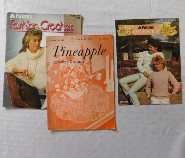 Vintage crochet patterns 1960s 1980s Pineapple Coats book 329 Patons 270 7118