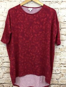 LuLaRoe-shirt-top-Irma-womens-small-red-roses-tunic-floral-E4