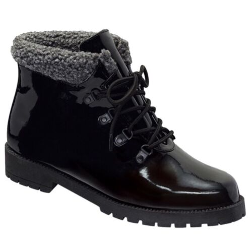 NEW Comfort View Water Resistant Lace Up Boots Faux Fur Trim Red Purple Black