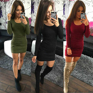 UK-Ladies-Sexy-Party-Dress-Womens-Long-Sleeve-Stretch-Bodycon-Club-Wear-Dress-AB