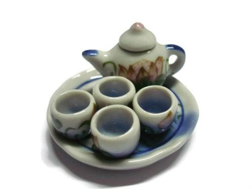 7 Pcs Hand Painted Lotus Tea Set Dollhouse Miniatures Ceramic Kitchenware