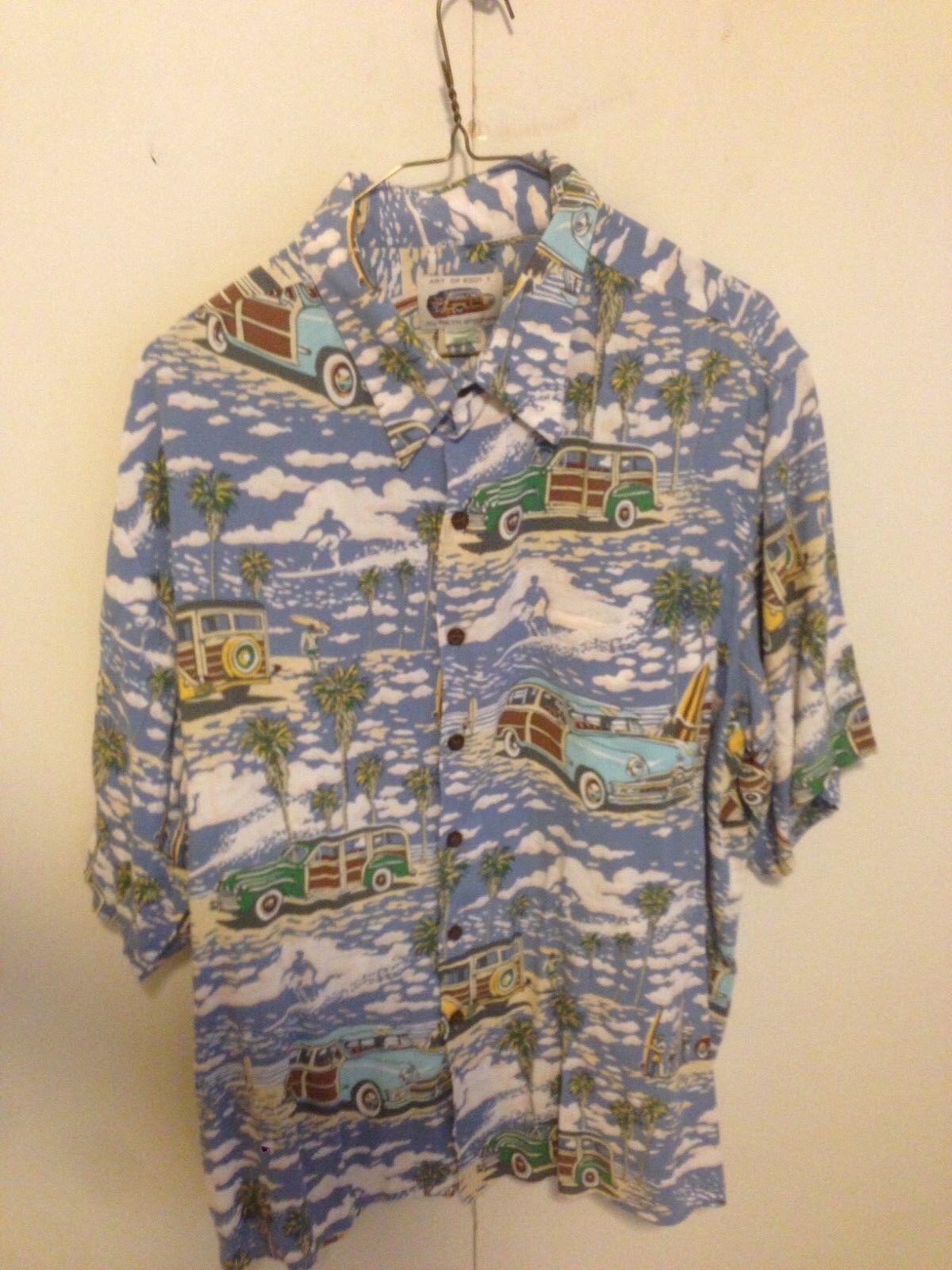 Reyn Spooner Art of Eddy Y Men XL Woody Wagon Surf Hawaiian Beach Shirt