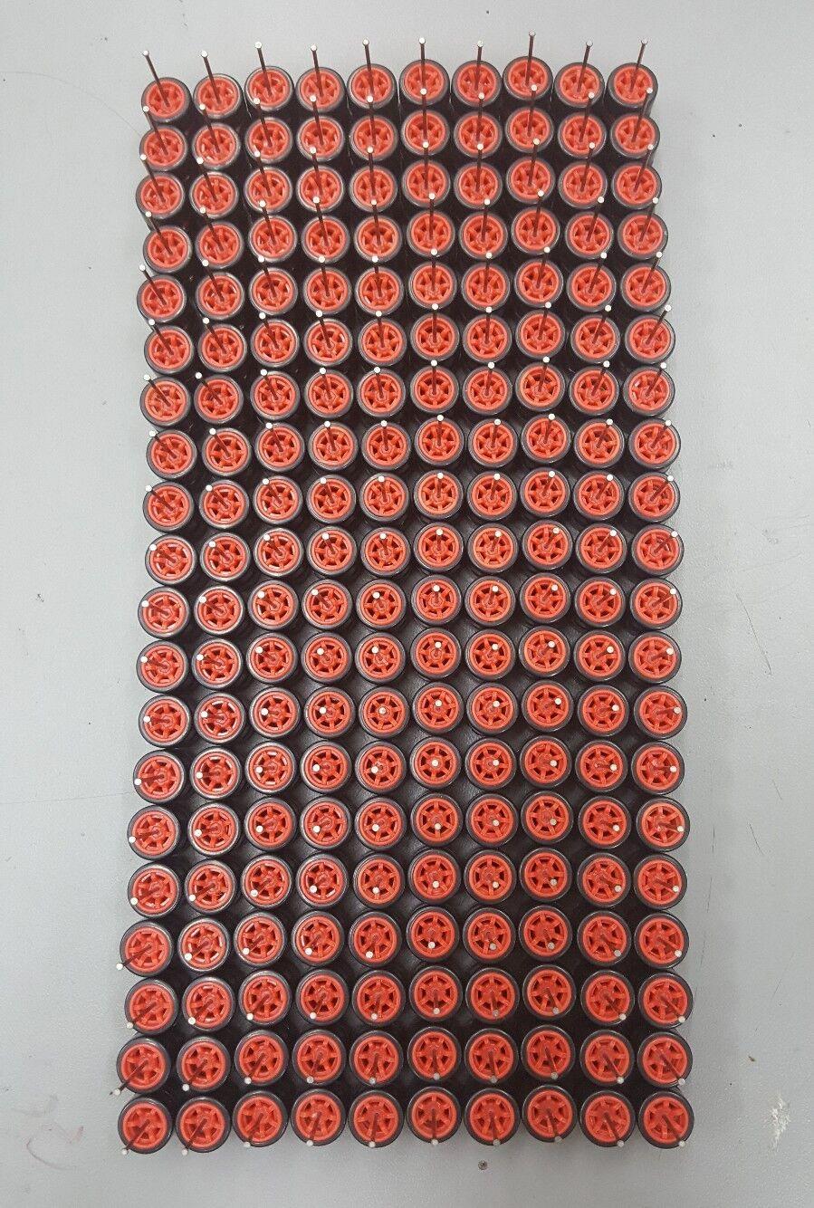 100sets Plastic Tires Comold 6 spoke CM6 rosso long axle fit 1:64 Hot Wheels MBX