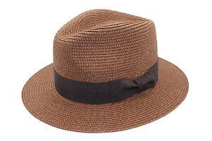 Hombre-Mujer-Marron-Chocolate-Plegable-Paja-Verano-Panama-Sombrero-fedora