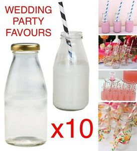 10X-PACK-250ml-Retro-School-MINI-MILK-Glass-Bottles-Lids-VINTAGE-PARTY-WEDDING