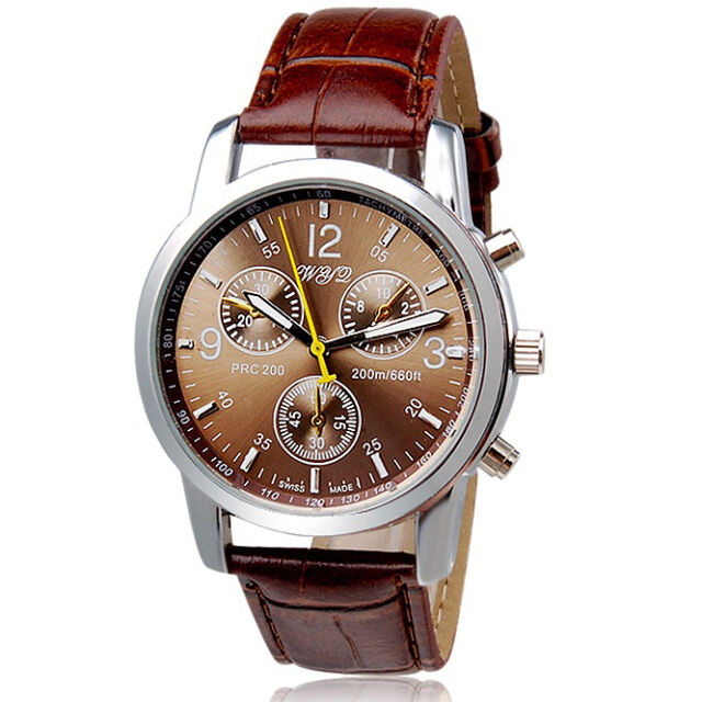 NEW Round Dial Faux Leather Strap Quartz Men's Brown Wrist Watch Male