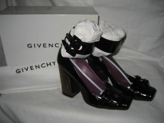 NEW BOX GIVENCHY US 7 EUR 37.5 37.5 37.5 Black Leather Ankle Strap Pump Heel Sandals shoes e3f24f