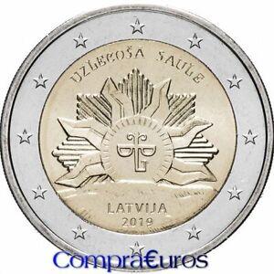 2-Euros-Conmemorativos-LETONIA-2019-Sol-Naciente-Sin-Circular-Solo-300-000-un