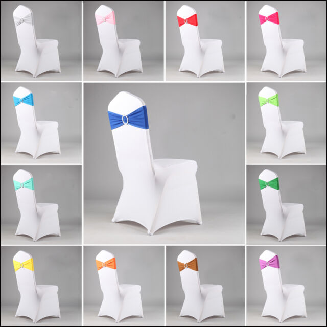 Colorful Spandex Stretch Wedding Chair Cover Band Sashes With Buckle Bow Slider