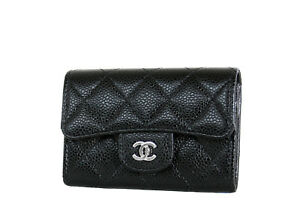 f22eb60bdb5c33 Chanel Card Case O Black Caviar Leather Mini Flap Wallet New in Box ...