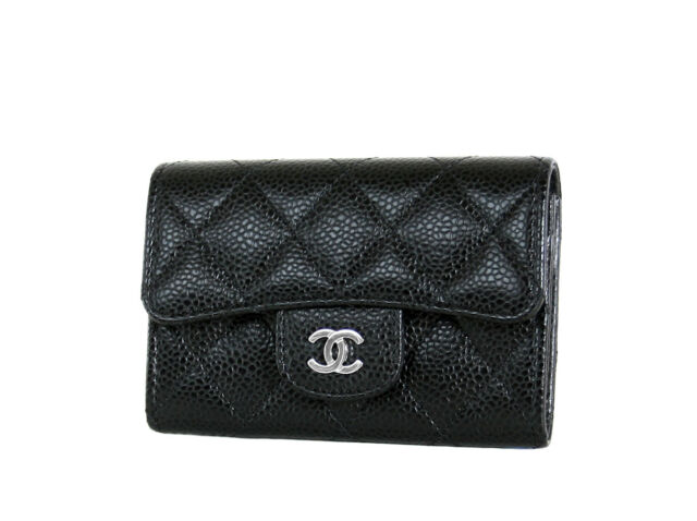 Chanel Card Case O Black Caviar Leather Mini Flap Wallet New in Box with  Tags 86006dc64215b