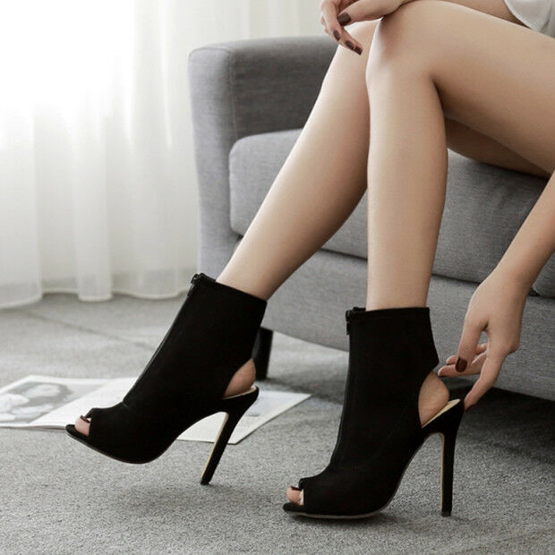 Sandali botas estivi tacco stiletto 11 cm negro pelle sintetica eleganti 9715