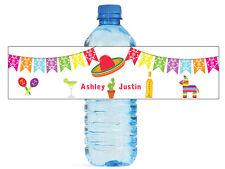 Mexican Fiesta wedding anniversary Engagement Birthday Party Water Bottle Label