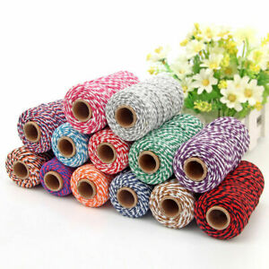 2mm*100m Cotton Rope Twine Crafts String Gift Wrap Tags Ribbon Colorful Supply