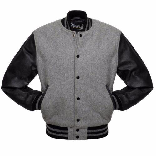 Grey//Black Varsity Letterman Wool Jacket Real Leather Sleeves Grey Rib