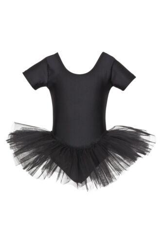 """schwarz Ballettanzug Ballettkleid Kinder Ballett Tutu /""""Alina/"""" mit kurzem Arm"""