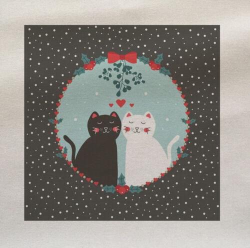 Cat Couple Mistletoe Christmas Fabric Panel Make A Cushion Upholstery Craft
