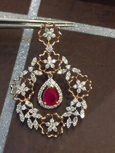 Pave-3-32-Cts-Runde-Brilliant-Cut-Diamanten-Rubin-Anhaenger-In-Feines-14K-Rotgold