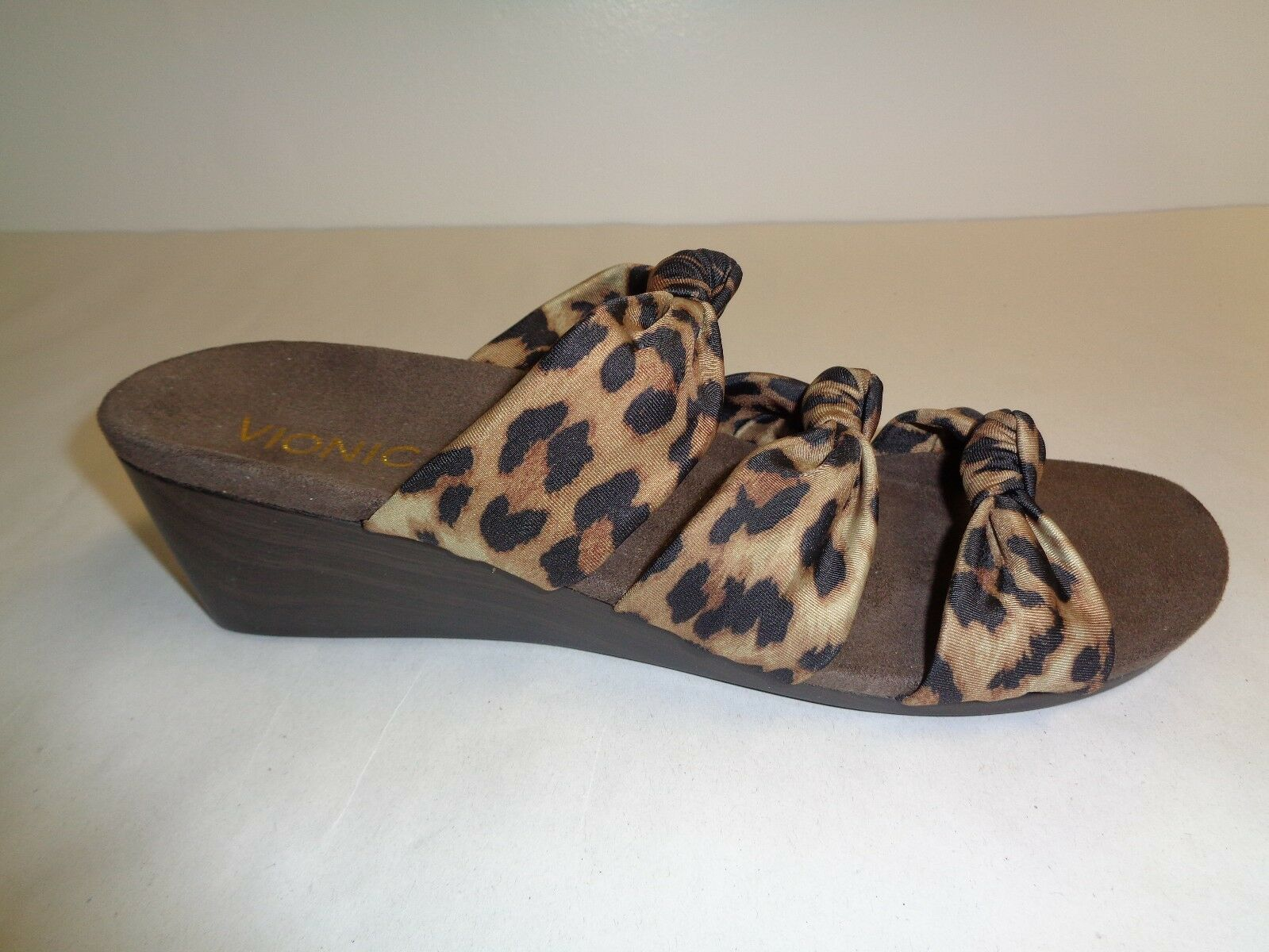 Vionic Size 7 PARK RIZZO Tan Leopard Wedge Sandals New Womens shoes