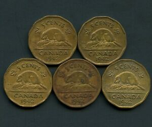 Lot-of-5-Canada-1942-Tombac-5-Cent-Coins