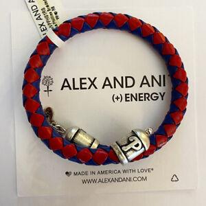 (2) Alex And Ani Philadelphia Phillies Braided Leather Bracelets Silver Finish