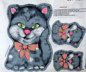 Vintage 60s 70s Fabric Panel Gray Kitten Kitty Cat Pillow Stuffed