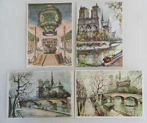 4x-PARIS-Kuenstlerkarten-France-CPA-Frankreich-Postkarten-Lot-ungelaufen-ab-1975
