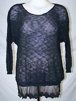 Poof Black Crochet Open Knit Lace Floral Fish Net Tulle Sweater Top Medium 7 9