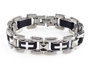 Men-Silver-Cross-Stainless-Steel-Black-Rubber-Bracelet-Bangle-Wristband-8-5-034-Hot