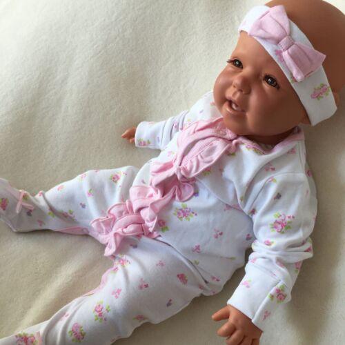 NEU Baby Mädchen Set 2-teilig Strampler Stirnband Gr 50 56 62 68 74 rosa weiß