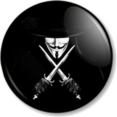 1 Inch 25mm New Black Badge Button Pin V for Vendetta Anonymous Guy Fawkes Mask