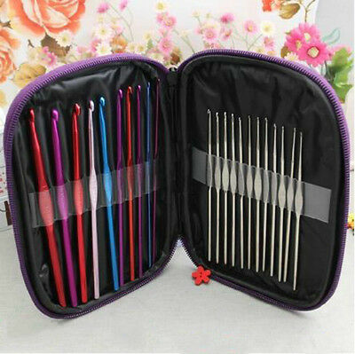 22Pcs Multi Color Aluminum Crochet Hook Knitting Kit Needles Set Weave Craft
