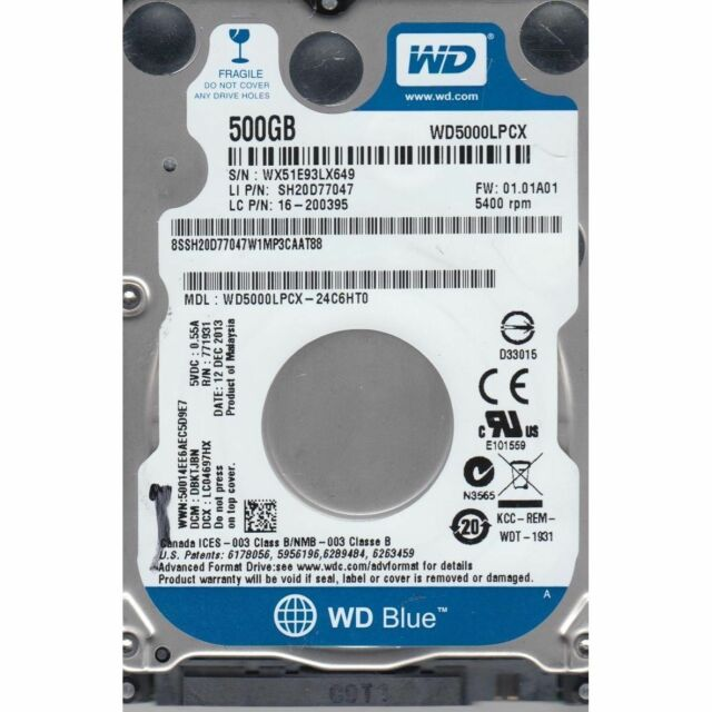 HARD DISK INTERNO NOTEBOOK 2,5 WESTERN DIGITAL BLU 500GB 16MB SATA 5400rpm NUOVO