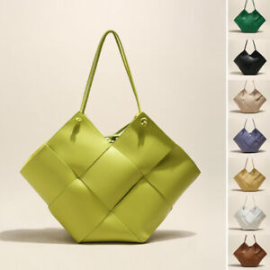 2 Pcs Maxi Woven Real Leather Angular Tote Shoulder Bag Purse Tie Top Handles