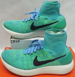 cf71f6c926b2 New Womens 8 NIKE LunarEpic FLyknit University Blue Green Shoes 200 ...