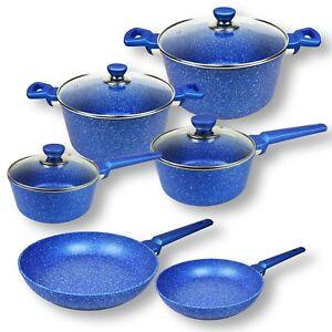 10pc-Non-stick-Cookware-Set-Blue-Stone-Frypan-Saucepan-Casserole-Induction